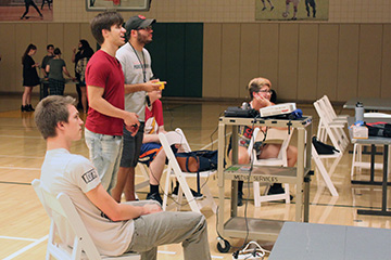 Students gather for late night retro gaming