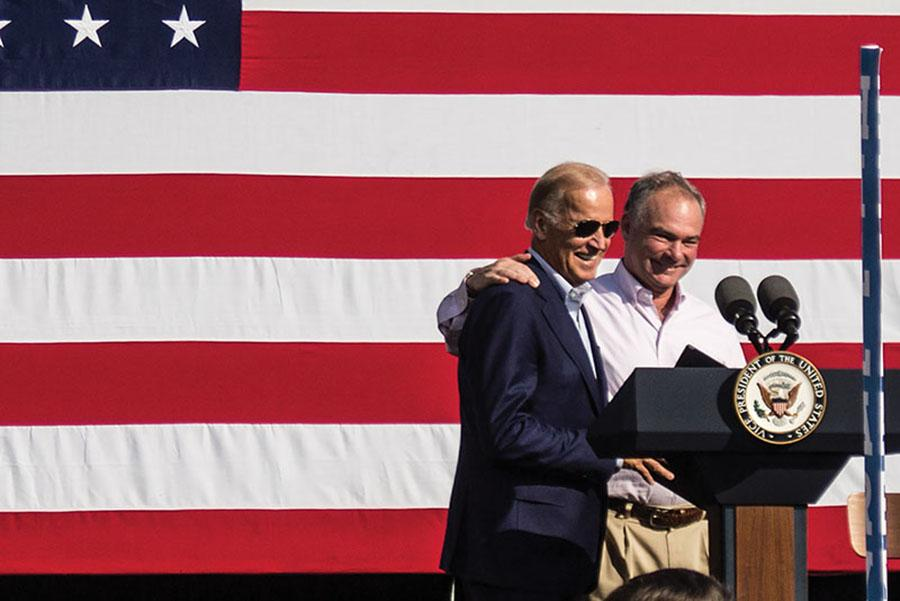 Democratic+Vice+President+Joe+Biden+and+Senator+Tim+Kaine+shake+hands+before+they+speak+to+supporters+of+Presidential+Democratic+candidate+Hillary+Clinton+Labor+Day+morning.++