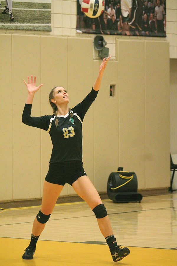 Sophomore+middle%2Fright+side+hitter%2C+Ashley+Taylor%2C+prepares+to+serve+the+volleyball+against+IU+East+on+Friday.