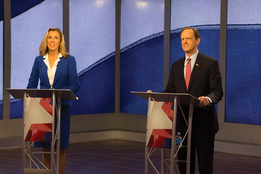 Senate+candidates+Katie+McGinty+%28D%29+and+Sen.+Pat+Toomey+%28R-+Pa.%29+prepare+for+the+first+of+two+televised+debates.+The+first+debate+took+place+Monday+at+KDKA-TV+in+One+Gateway+Center.