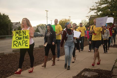Men wear heels in Bloomfield to raise awareness of sexual violence