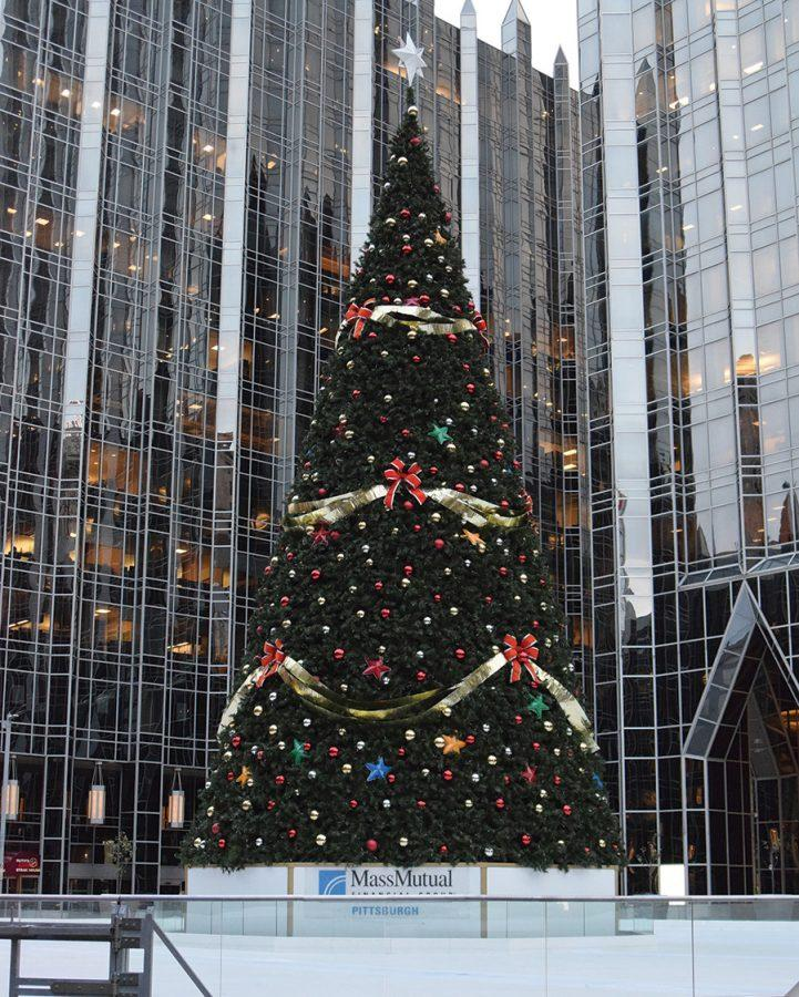 The+tree+at+PPG+Place+will+be+lit+amongst+ice-skaters+during+Pittsburgh%E2%80%99s+annual+Light+Up+Night%2C+which+takes+place+in+the+evening+Nov.+18.+The+tree+will+be+illuminated+along+with+other+holiday+lights+all+around+the+city+beginning+that+night.