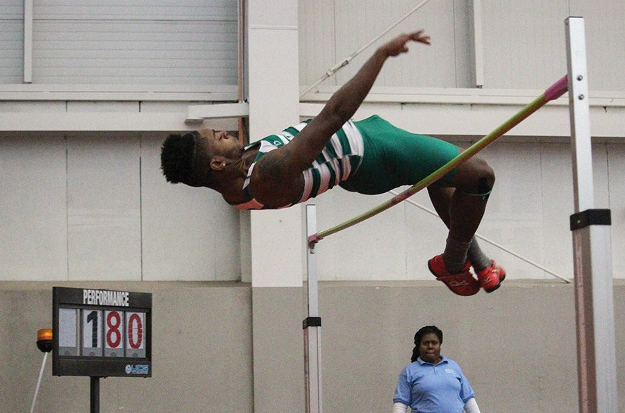 Michael+Morris%2C+sophomore%2C+participated+in+the+high+jump+where+he+placed+7th+at+the+YSU+College+Invite+on+Friday.+%0A