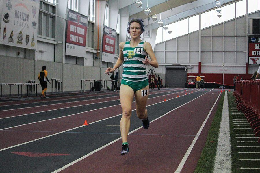 Anna+Shields%2C+sophomore%2C+ran+in+the+5000+meter+and+placed+first+in+the+NAIA+with+her+time.+She+ran+17%3A32+at+the+YSU+College+Invite+on+Friday.