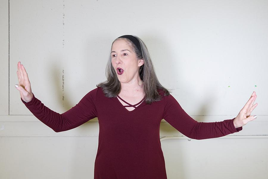 "Ann Talman, doubling as the playwright and lead role for ""Woody's Order!"", delivers a monologue from the show. The show runs Feb. 3-19 at the Pittsburgh Playhouse's Studio Theatre."