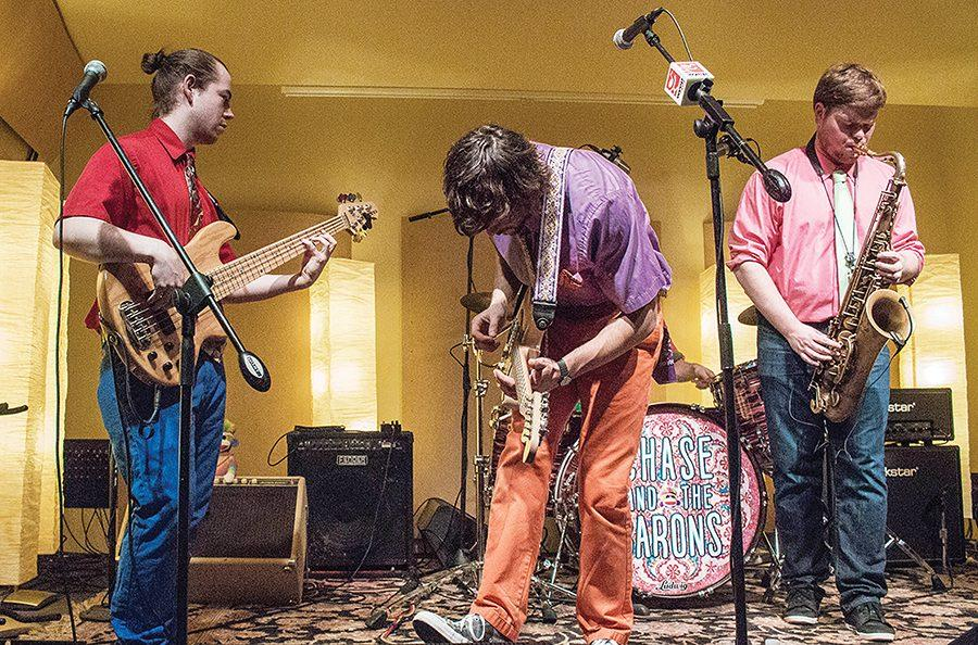 Chase+and+the+Barons+perform+at+WYEP+studios+on+the+South+Side+Mon.+March+6.+SAEM+students+were+invited+to+watch+the+live+performance.