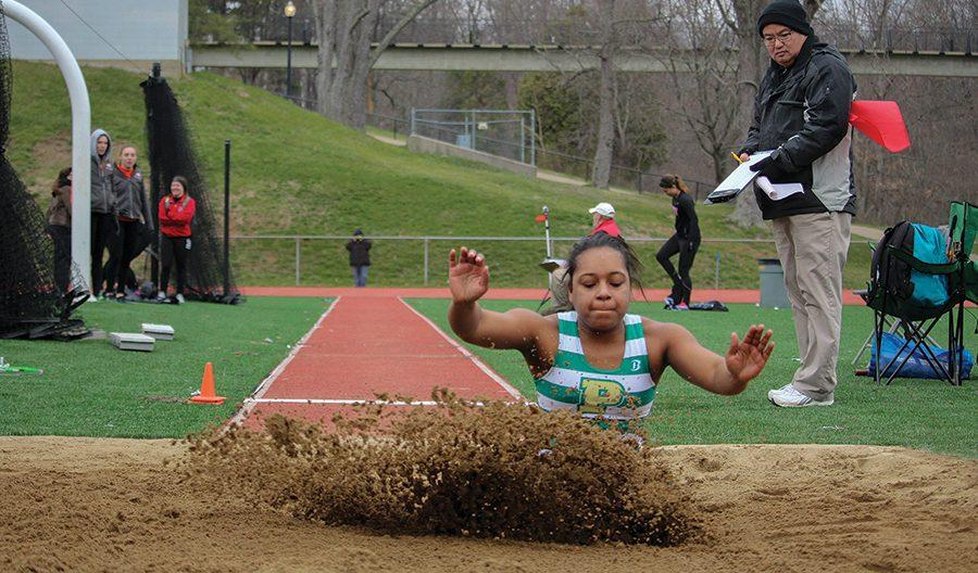 Junior+Darian+Leighty+competes+in+the+long+jump+at+the+Muskie+Duals+on+Saturday.+Leighty+finished++eighth+overall+in+the+event.+She+placed+fourth+overall+in+the+triple+jump+later+that+day.+