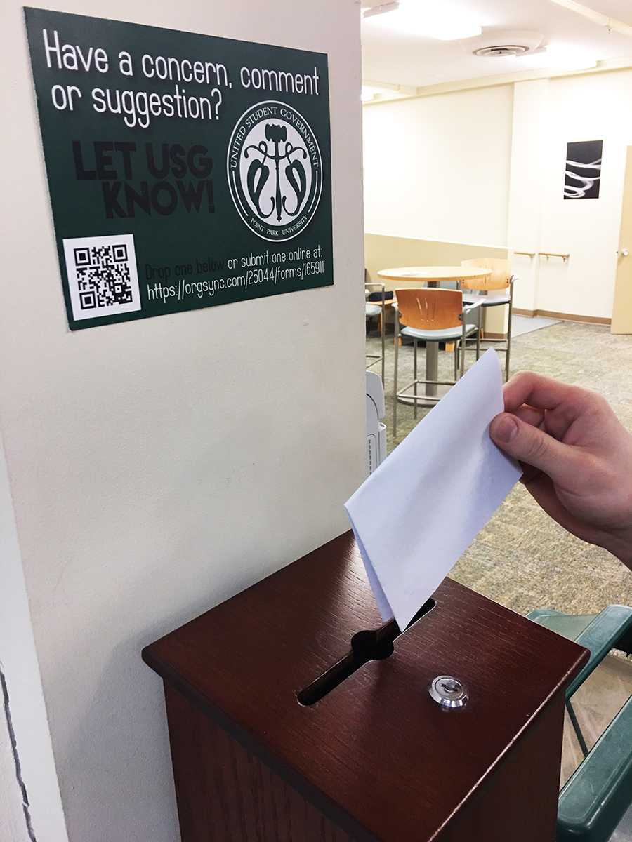 USG suggestion boxes are located in Thayer Hall, Lawrence Hall, and West Penn and are checked every week for new inputs.