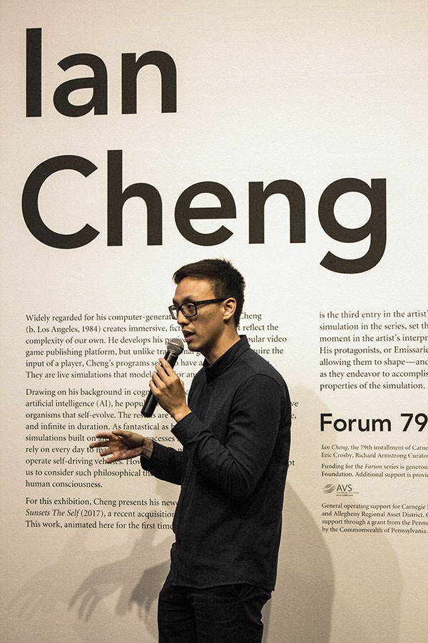 Artist+Ian+Cheng+answers+questions+about+his+new+exhibit%2C+%E2%80%9CEmissary+Sunsets+the+Self%2C%E2%80%9D+at+Carnegie+Museum+of+Art.