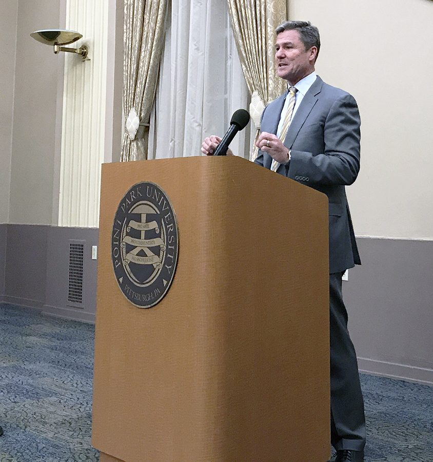 Frank+Coonelly%2C+President+of+the+Pittsburgh+Pirates%2C+spoke+to+the+Ed.D+in+Leadership+and+Administration+program+as+the+second+installment+of+their+4+part+series+of+guest+speakers.+Coonelly%E2%80%99s+appearance+follows+Mayor+Bill+Peduto%E2%80%99s+visit+to+the+program.