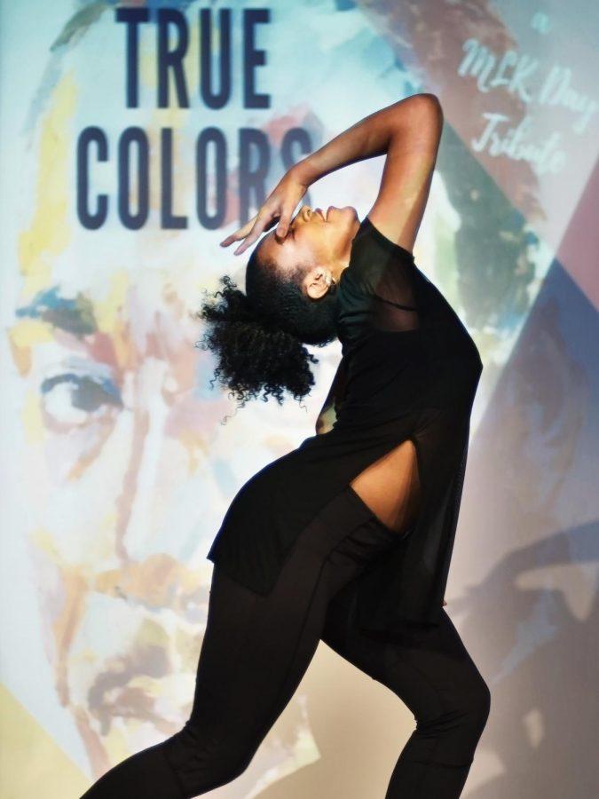 Freshman+musical+theatre+major+Reina+Guerra+performs+an+interpretive+dance+routine.