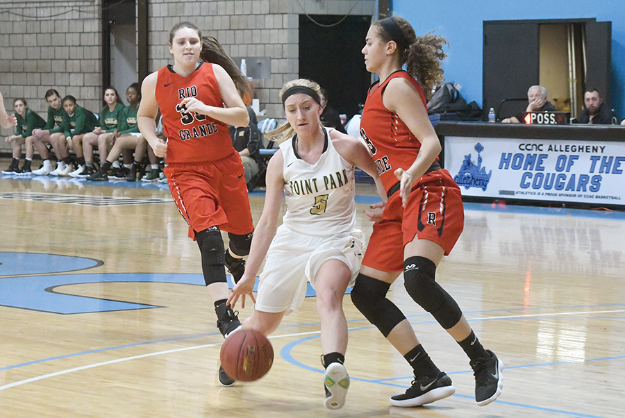 Sophomore guard Baylie Mook drives past a Rio Grande defender the last time the teams met this season. After traveling to Rio Grande Tuesday, the Pioneers have two games left on the regular season.