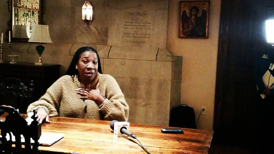 "Founder of the ""Me Too"" Movement Tarana Burke speaking to reporters at the Calvary Episcopal Church Feb.6. Burke addressed the important role media played in the movement's progression."