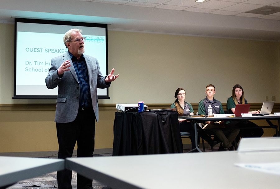 """Dr. Hudson explained Monday the new major is focused on """"combining, not reducing,"""" by focusing on the profession of journalism rather than the name or delivery platform."""