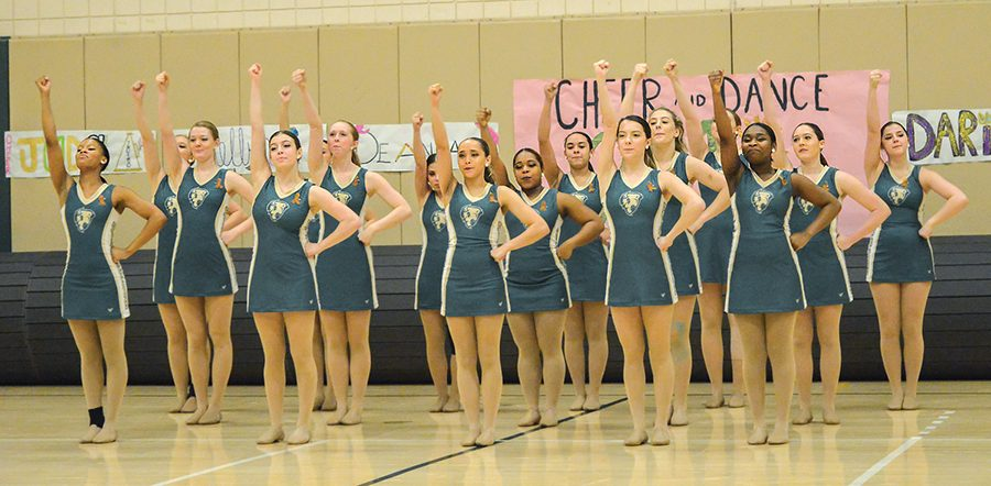 The competitive dance team performs its competition routine at the Point Park Cheer and Dance Showcase on Feb. 18 in the Student Center Gym. The team made its national competition debut last weekend.