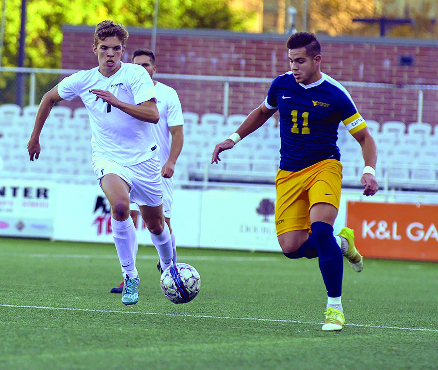 Junior Wessel Rietveld steals the ball from West Virginia Tech during a 2017 matchup. Rietveld suffered a shoulder injury in the season opener.