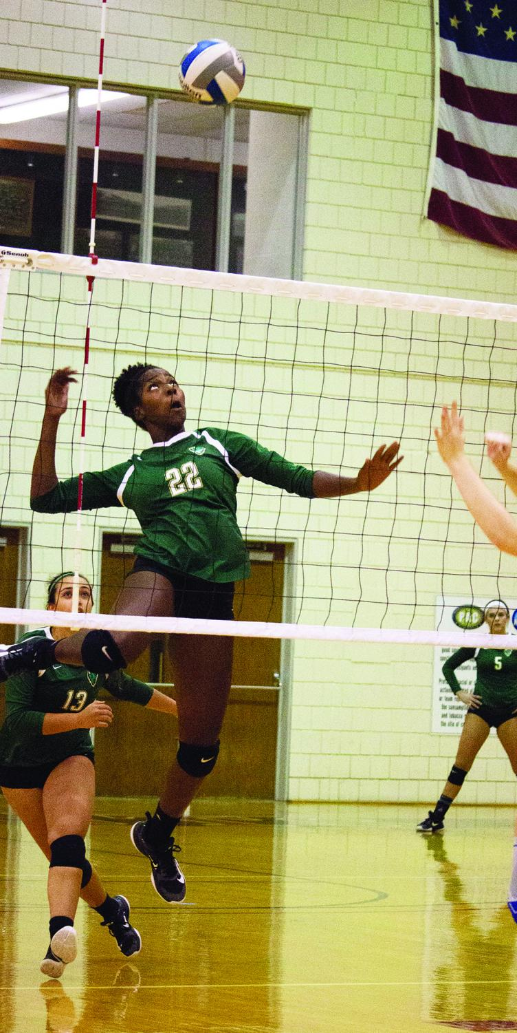 Senior middle hitter Destiney Tucker attempts a spike in a 2017 matchup against Washington and Jefferson. The team won 3 conference matchups last week and are now 5-1 in conference play.