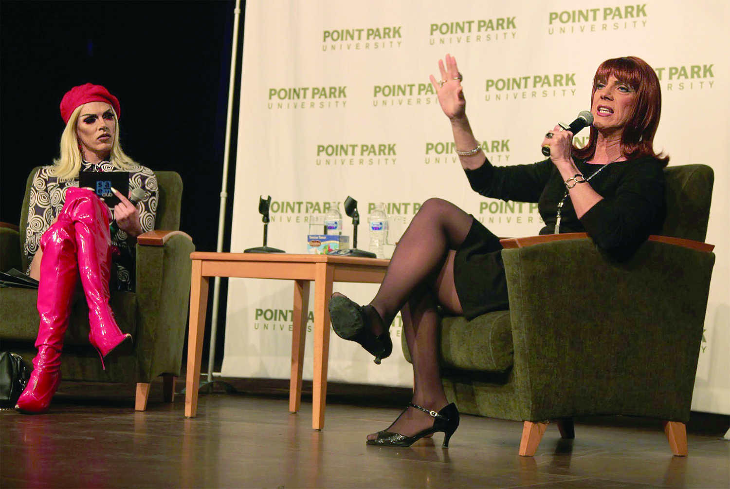 Miss Coco Peru visited Point Park's GRW theater last Thursday to tell stories and give words of wisdom. Miss Peru recalled significant moments of her life, like meeting her husband for the first time on a nude beach in Spain, and coming out to her parents as transgender. Read the full story in the Features section, page 4.