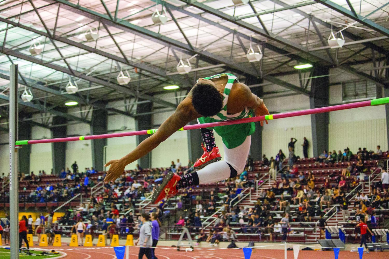 Senior Michael Morris competes in the high jump at the 2018 SPIRE Midwest Open. Morris competed in the event last month in Youngstown placing seventh and was only .9 meters shy of qualifying for the NAIA national Championship.