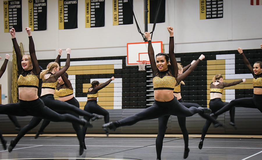 The Point Park competitive dance team competes in their first home meet Sunday at Gateway High School. The team fell to Aquinas college 70-68 in the first round and 75-73 in round two.