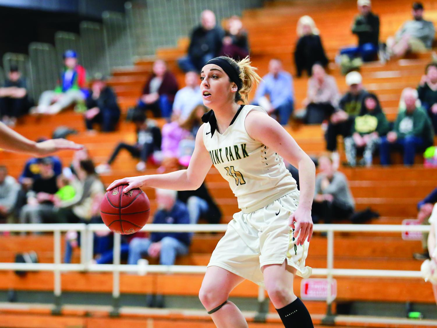 Senior Kaitlyn Smith makes an offensive push during her senior night contest against Rio Grande. This past weekend, Smith put up 15 points in a contest against Ohio Christian University.