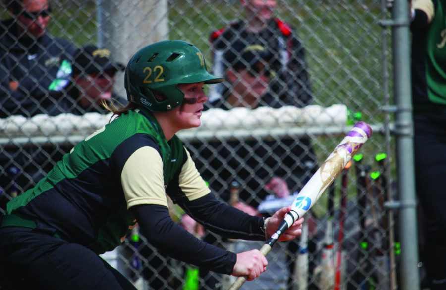 Maddie Horn attempts a slap bunt in a game last season. During the spring season, Horn hit for a .357 average with 10 hits after 28 at bats.