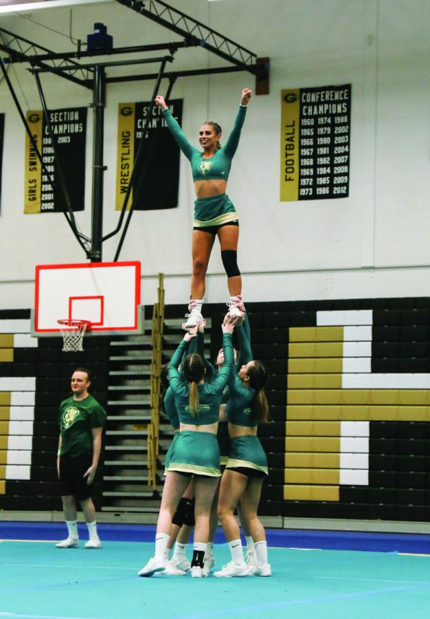 The competitive cheer team performs their routine as part of the Pioneer Showcase. This past weekend, the cheer team competed in Myrtle Beach as part of the Cheer Ltd. Nationals at Canam to end the season.