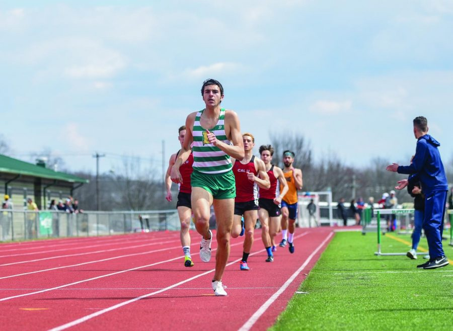 Junior Xavier Stephens runs the final lap of the 800m event at Slippery Rock. Stephens won the race and qualified for nationals in the event.