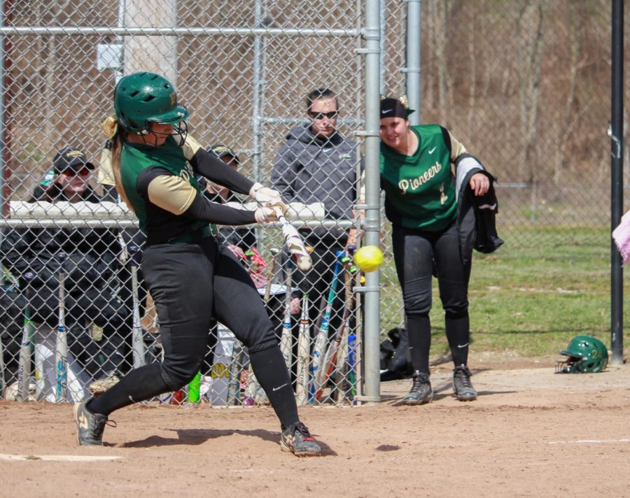 Shannon Davis hits a line drive in a 2018 game. Through 16 games, the right fielder has picked up four RBIs.