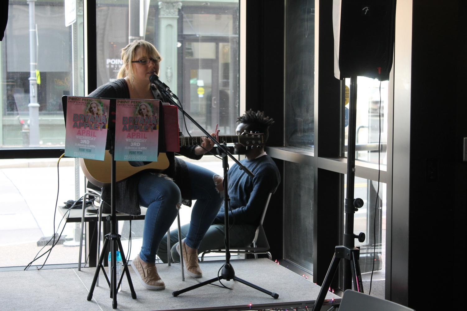 Bryana Appley performs at Point Perk for a live solo set last Wednesday.
