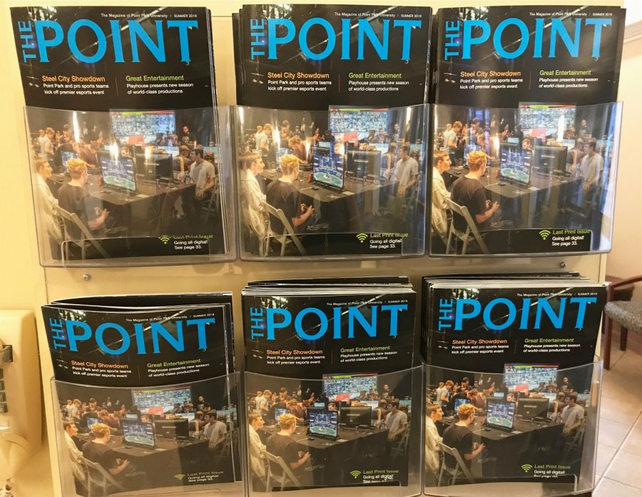 The last official print issue of The Point Magazine is on display in Lawrence Hall, which was published this summer.