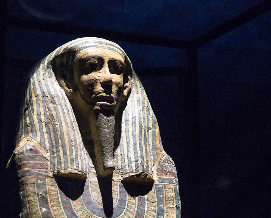 """Carnegie Science Center presents Mummies of the World: The Exhibition. The temporary exhibit features 40 real human and ani- mal mummies and 85 related artifacts and will run through April. The mummy pictured above is """"The Sarcophagus of the Woman of High Status."""""""