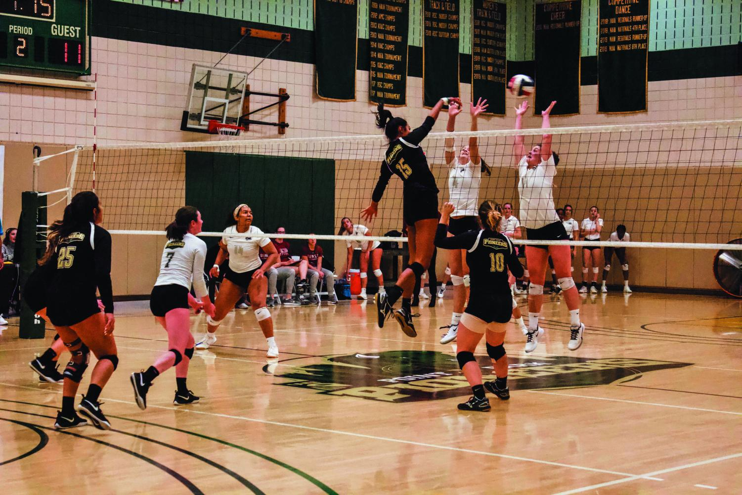 Junior Jazlyn Rozier goes up for a kill against Ohio Christian University on Saturday. Saturday was also Point Park's Senior Day.