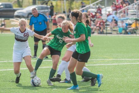 Sophomore Nola McGuire tries to secure the ball in a game against IU Kokomo earlier this season. The Pioneers are moving on to the RSC Semifinals this week against No.1 Asbury.