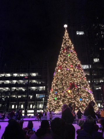 The tree at the MassMutual PPG Ice Rink was lit as part of the annual Comcast Light Up Night was held on Friday. Nov. 22 in Downtown Pittsburgh.