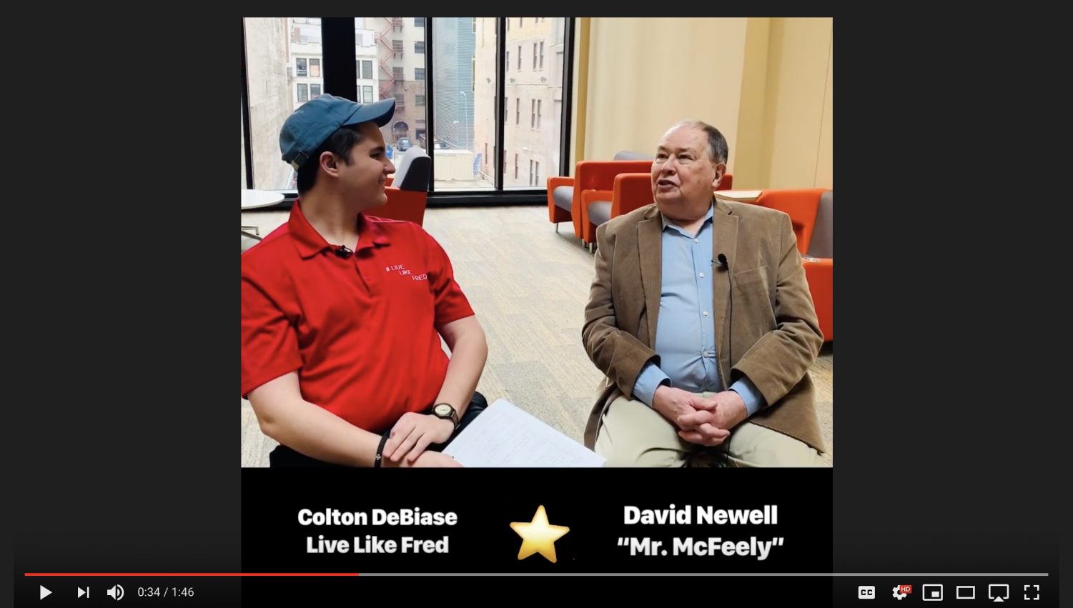 """A screeshot from DeBiase's """"Live Like Fred"""" YouTube channel of his latest video with David Newell, also known as Mr. McFeely."""