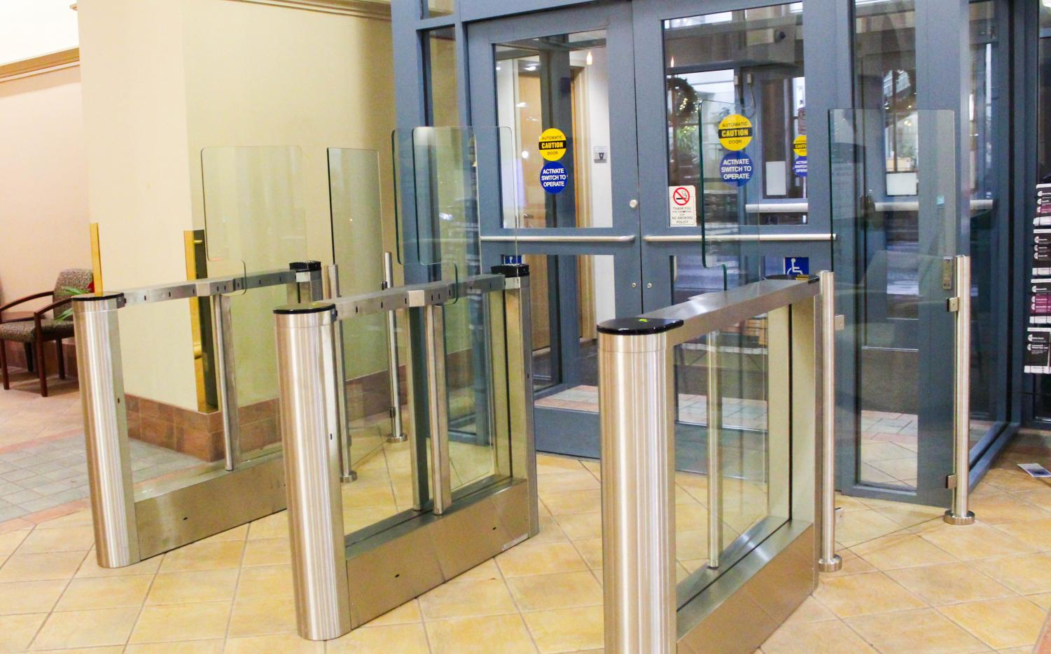 Turnstiles were installed at the Lawrence Hall entrances over Thanksgiving break.