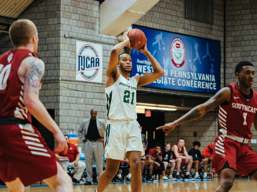 Junior forward RJ Fairrow looks for an open teammate in a game at CCAC-Allegheny this week.