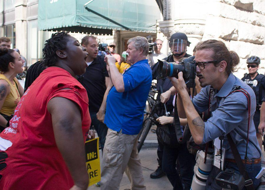 Laquania+Coleman%2C+a+fast+food+worker%2C+shouts+at+Police+while+getting+her+photo+taken+during+Protests+against+Donald+Trump+outside+of+the+Duquesne+Club+on+September+22.+