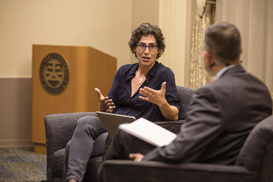 Journalist Sarah Koenig, creator of Serial podcast discussed her experience and process creating Serial, and shared experiences of being a professional journalist. The panel was a part of the CMI's grand opening Tuesday September 13.