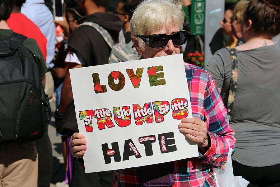 """""""Edgy Elders"""" protest Donald Trump during the Shale Insight 2016."""