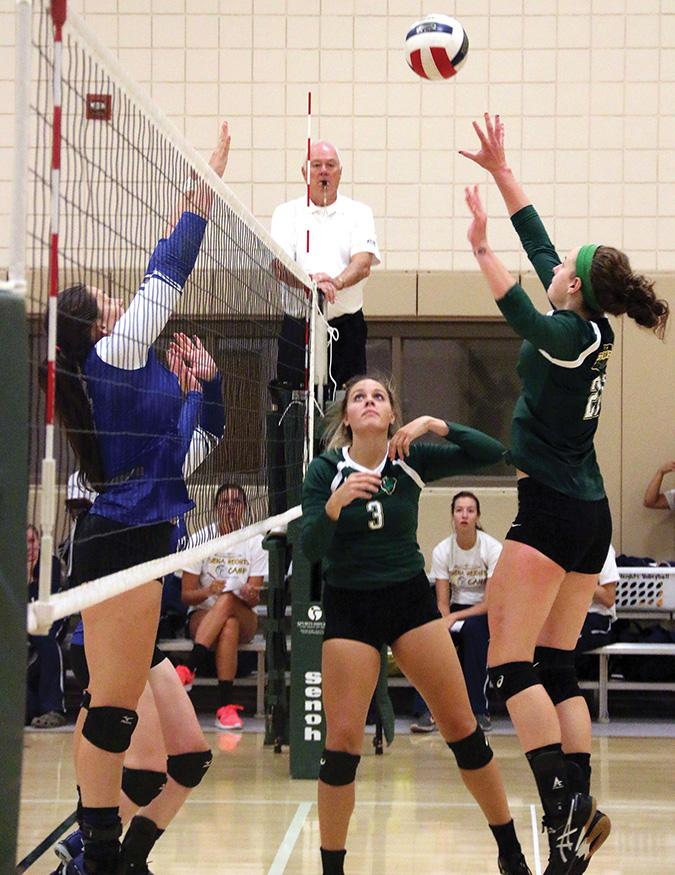 Setter Emily Meng, a senior at Point Park, sets the ball to her teammate Julia Menosky, a freshman defensive specialist. Menosky dinked the ball to score a point against Lawrence Tech.