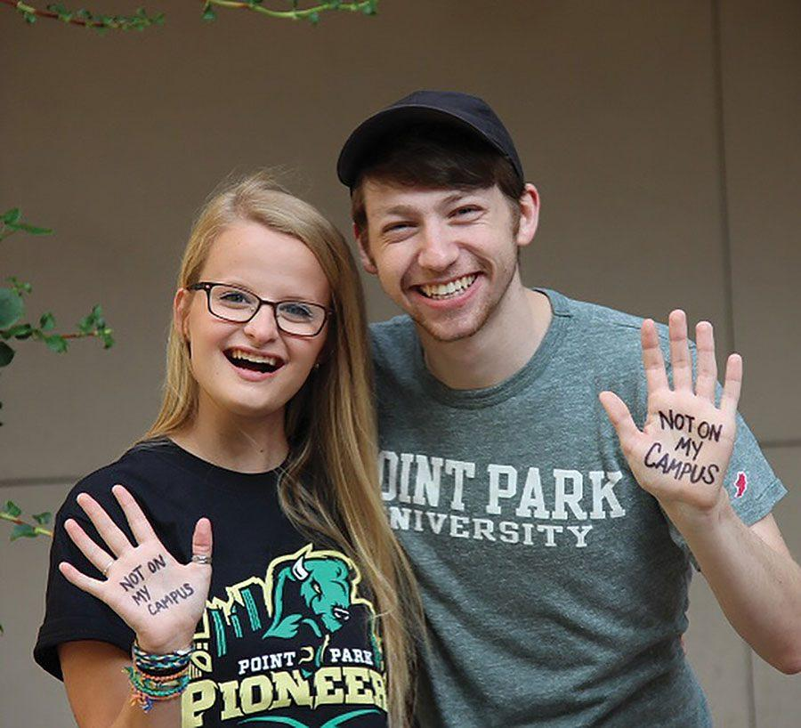Syrah Sherwood, left, and Wesley Ehle started the Point Park chapter of 'Not On My Campus' in the hopes of curbing sexual violence on the university's campus.