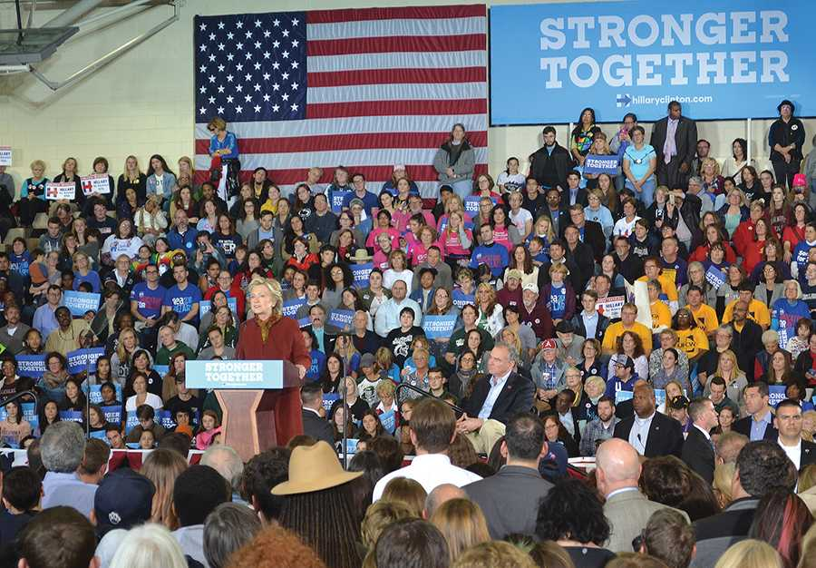 More than 1,800 people attended a campaign rally held by Hillary Clinton and Tim Kaine Saturday. During their speeches, Clinton and Kaine covered topics concerning economic growth, how to represent working families and gender equality.