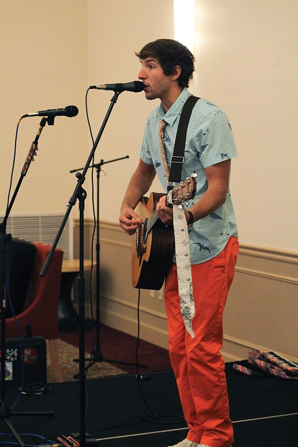 Chase Baron, junior multimedia major and lead of Chase and the Barons, rocked out in Lawrence Hall on Thursday for SAEM Club's Concert in the Park. The event was moved from Village Park due to inclement weather.