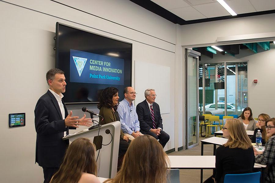CMI Director Andrew Conte introduces local journalists Salena Zito, Chris Potter and Jon Delano for a panel about their stories covering the presidential campaign trail Tuesday, Sept. 27 in the CMI.