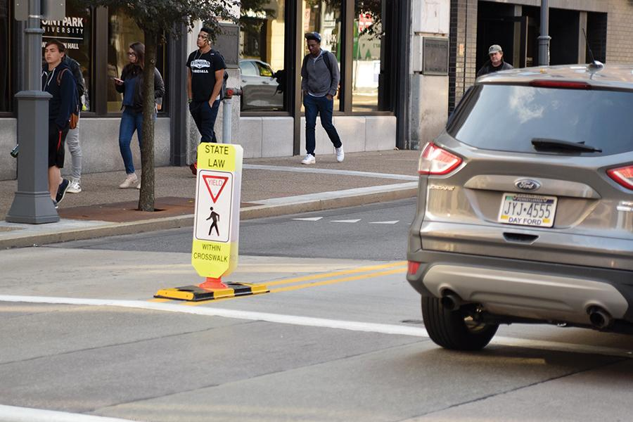 Point Park Chief of Police Jeffrey Besong announced Thursday, Oct. 27, that the university's police department received permission to install new crosswalk signs at the intersection of Wood Street and First Avenue.