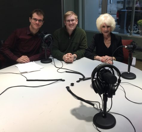 Sam Morrison, left, sophomore broadcast production and media management major and productions director at WPPJ-AM, Alexander Popichak, sophomore broadcast production and media management major and editor-elect of the Globe with Diane Rehm, host of one of NPR