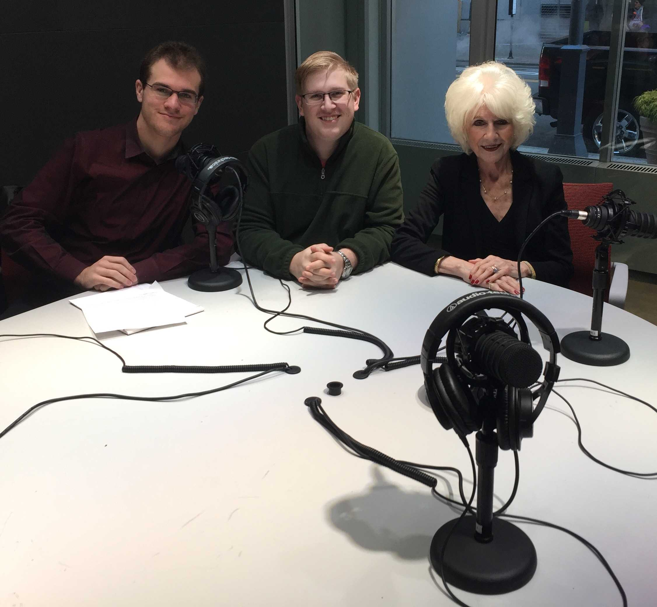 Sam Morrison, left, sophomore broadcast production and media management major and productions director at WPPJ-AM, Alexander Popichak, sophomore broadcast production and media management major and editor-elect of the Globe with Diane Rehm, host of one of NPR's longest-running and most-listened-to shows 'the Diane Rehm Show.'