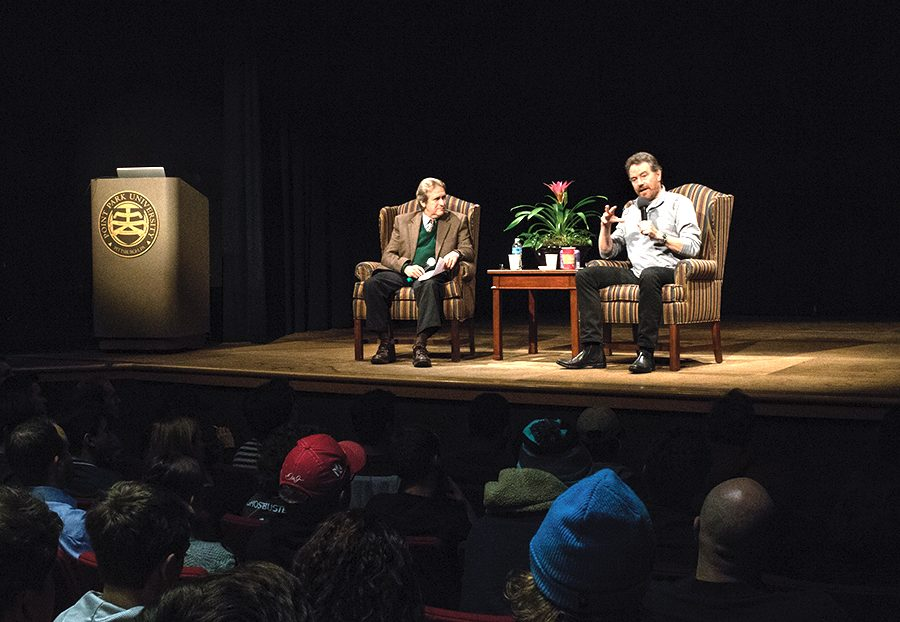 Breaking Bad star Bryan Cranston talks with screenwriting professor Steve Cuden and inspires students Wed. Nov. 16 in the University Center.
